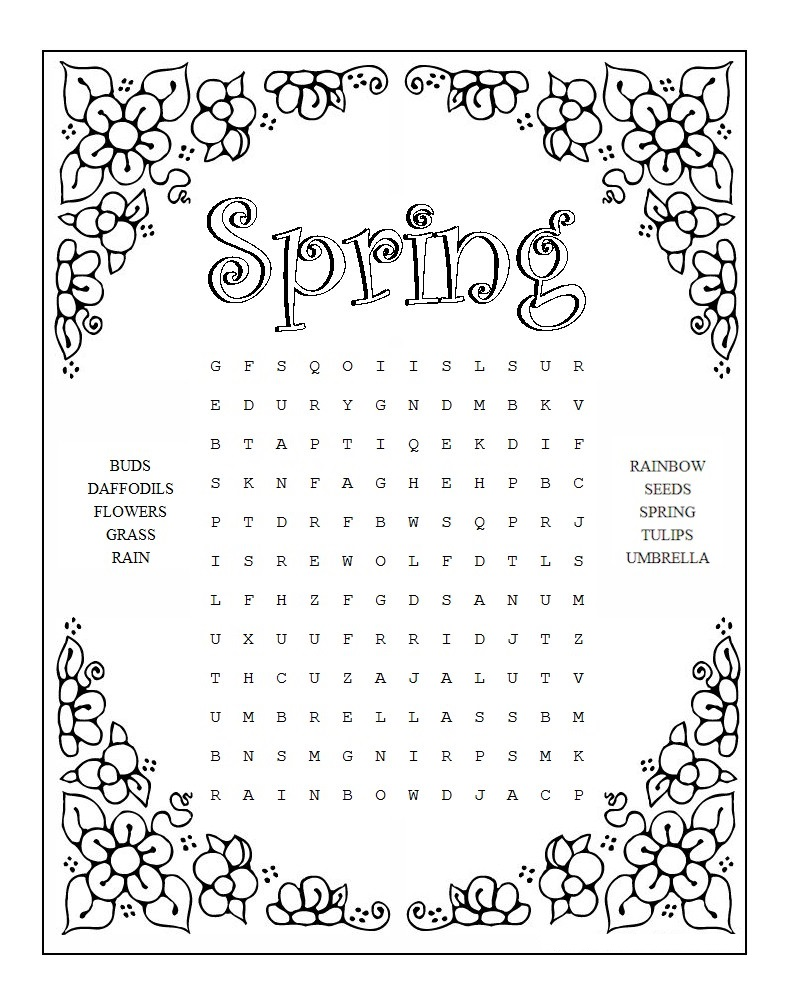 Spring Free Word Search Puzzles For Kids