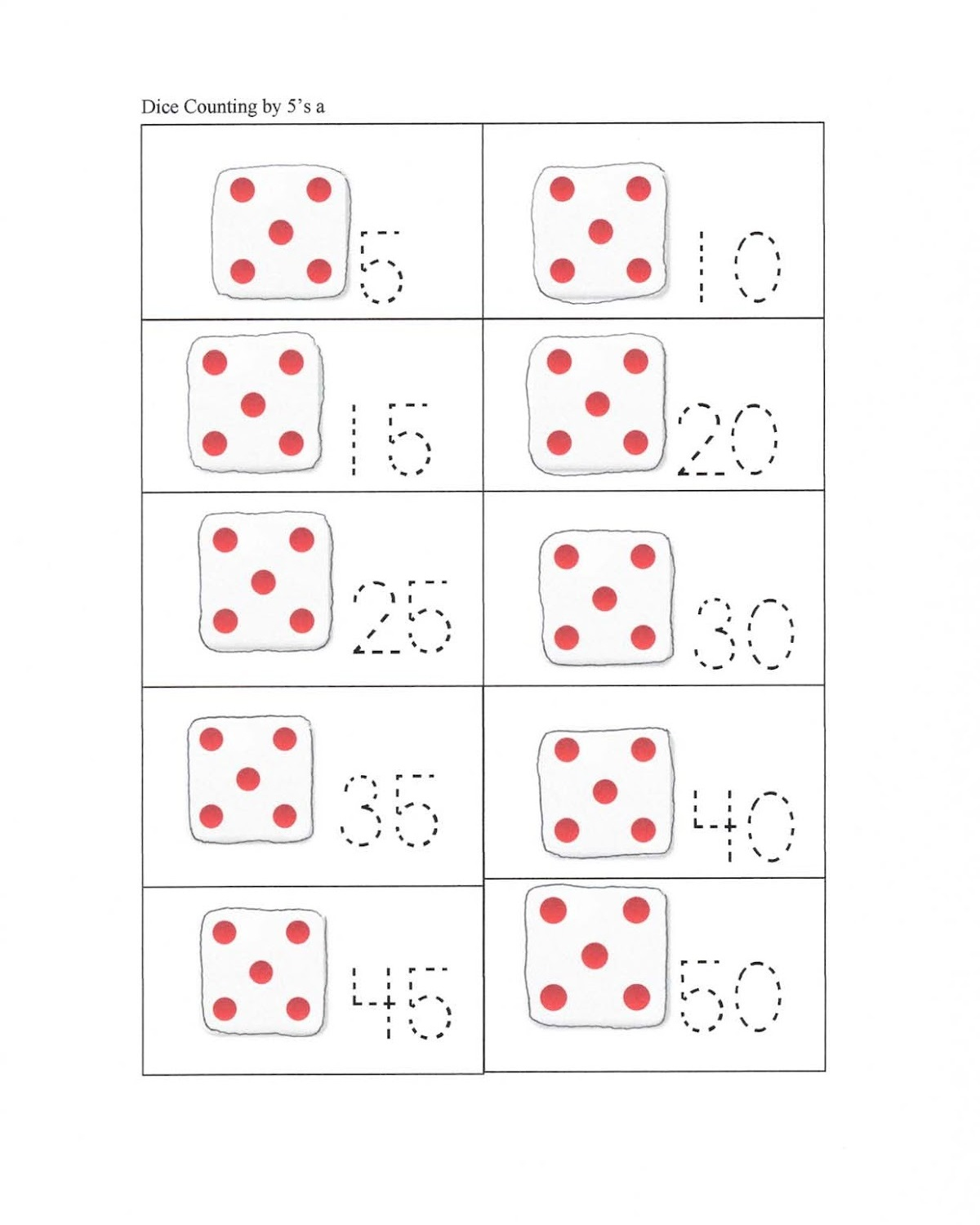 Trace Count By 5 Worksheet