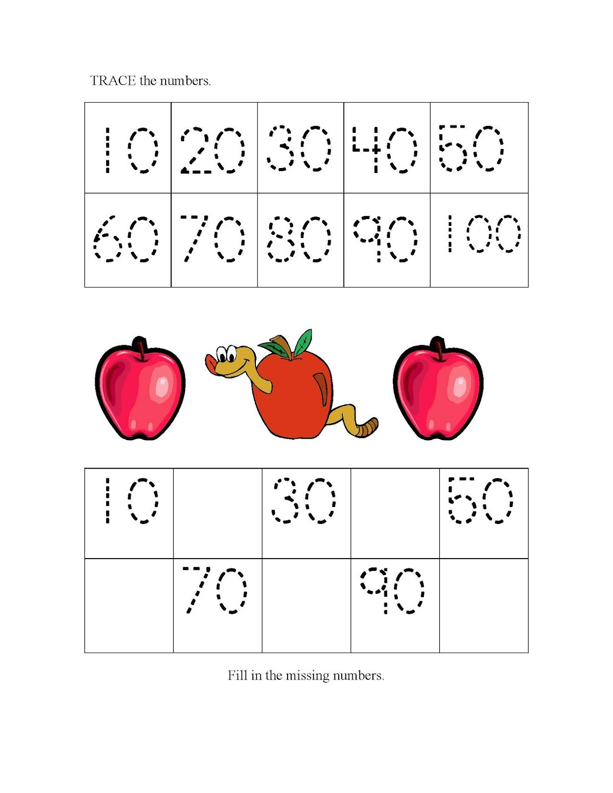 Trace Skip Count By 10 Worksheet