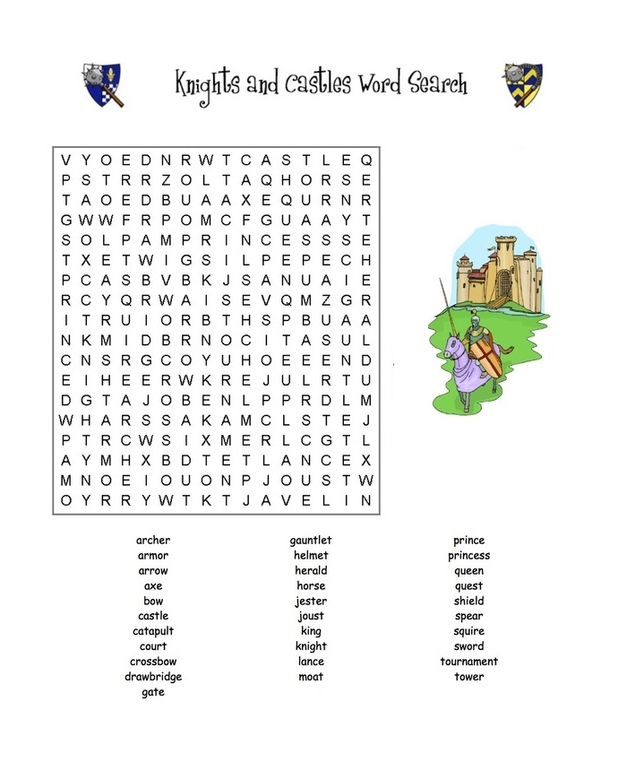 Word Searc Middle Ages Activities For Kids