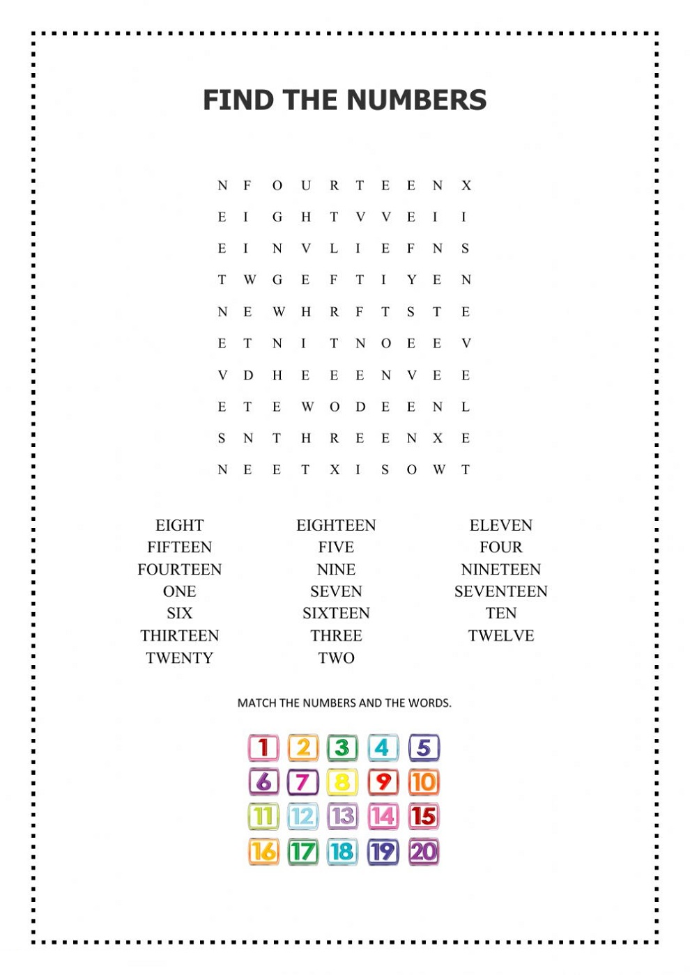 Wordsearch Numbers 1-20 Worksheets