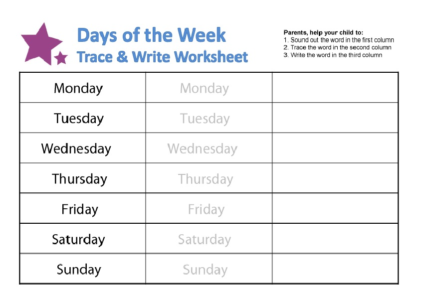 Writing Free Days Of The Week Worksheets