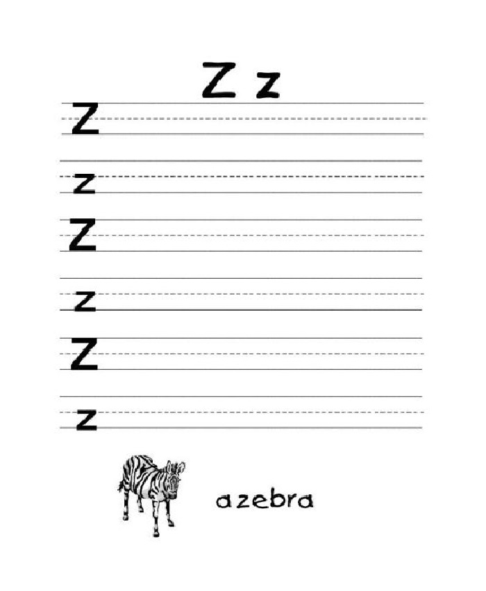 Writing Letter Z Worksheet