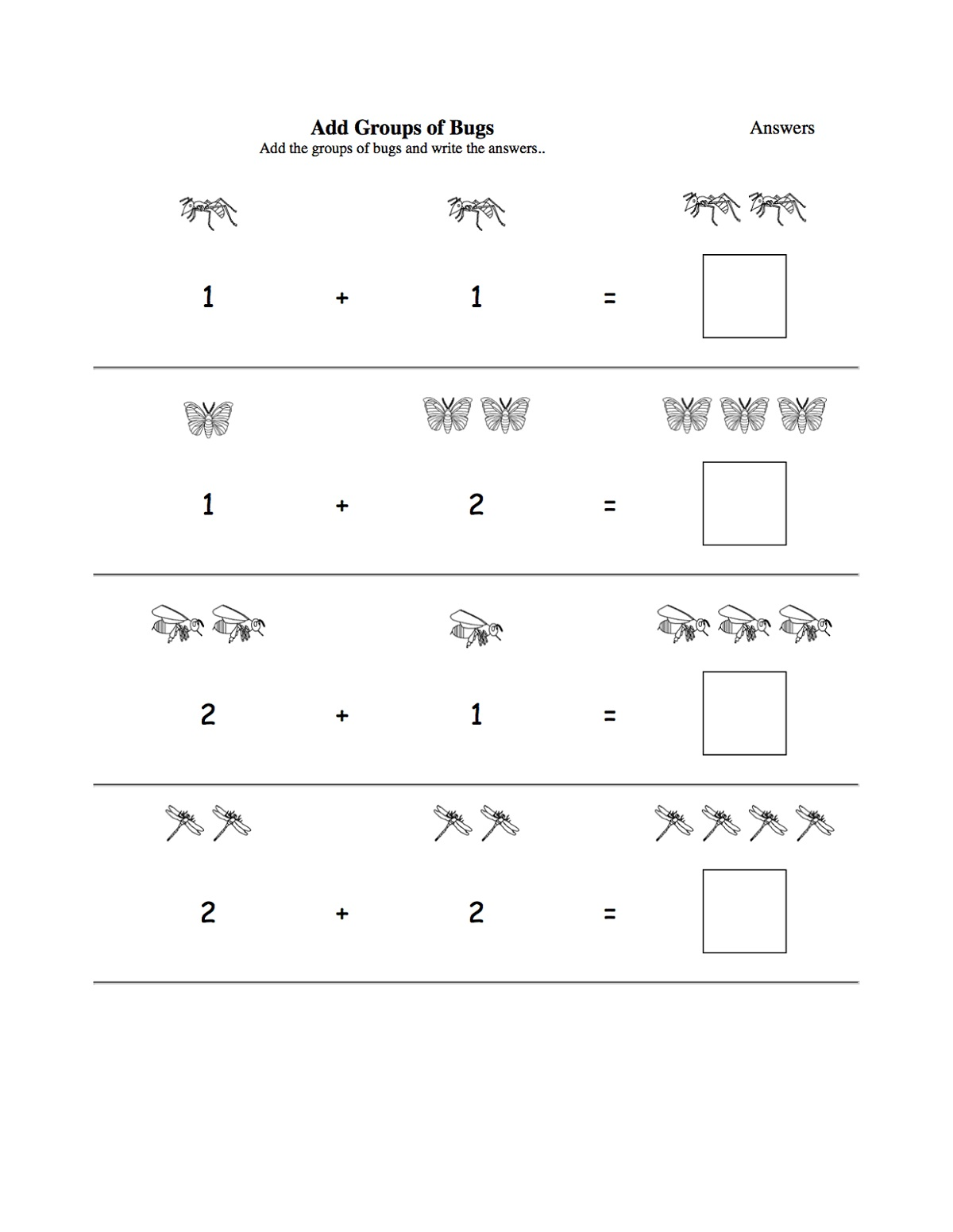 Addition Worksheets For 3 Year Olds