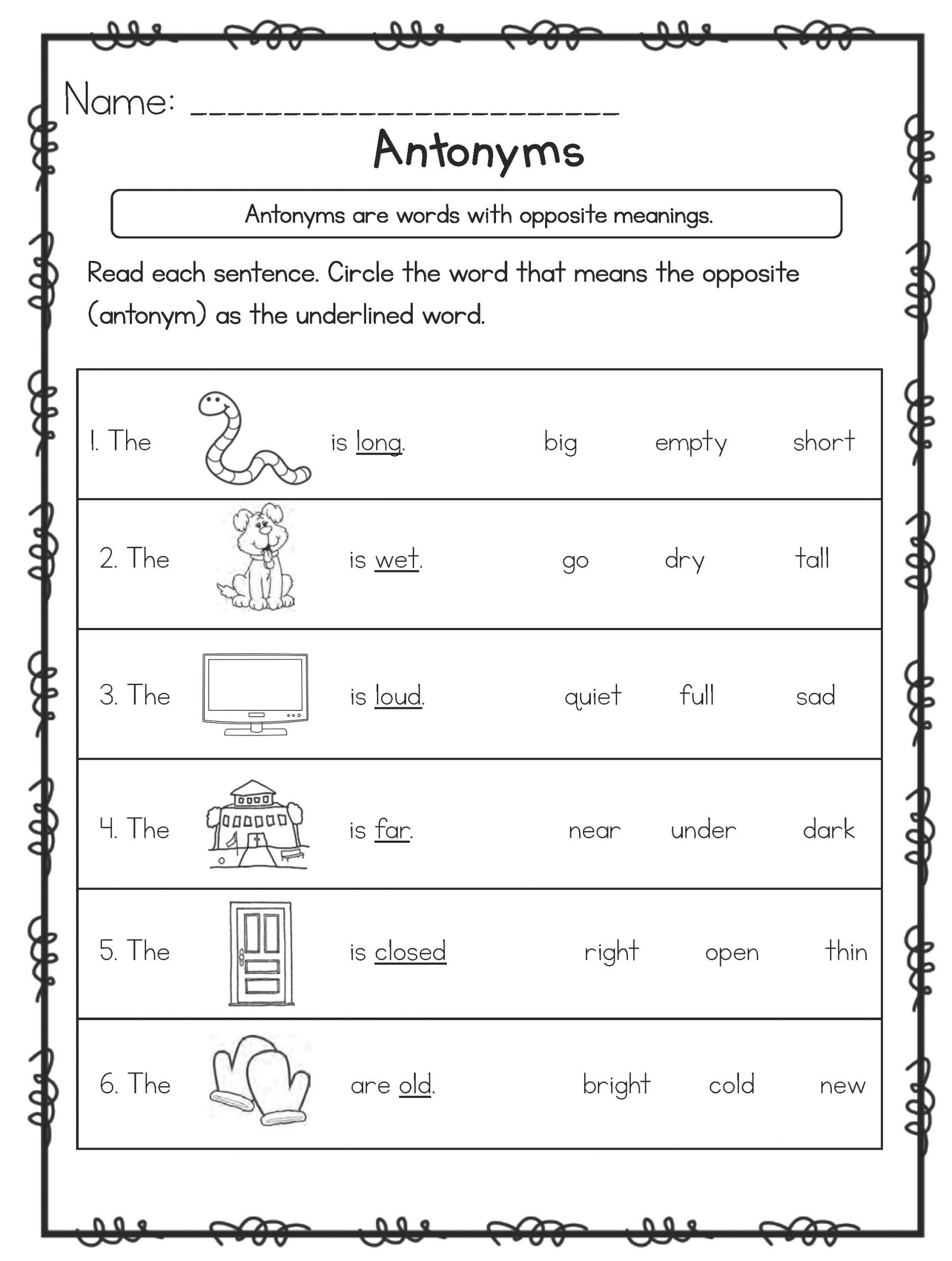 Antonyms Worksheets For 5 Year Olds