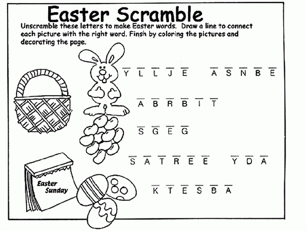Coloring Easter Word Scramble