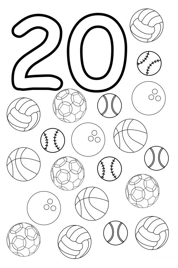 Coloring Number 20 Worksheet