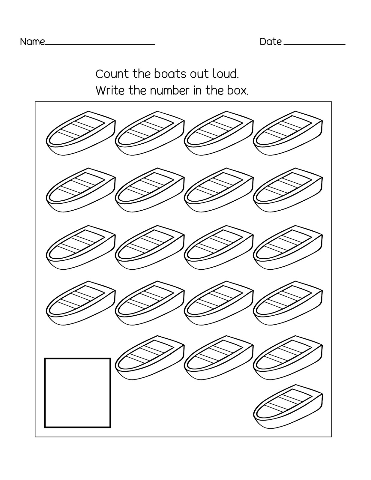 Counting Number 20 Worksheet