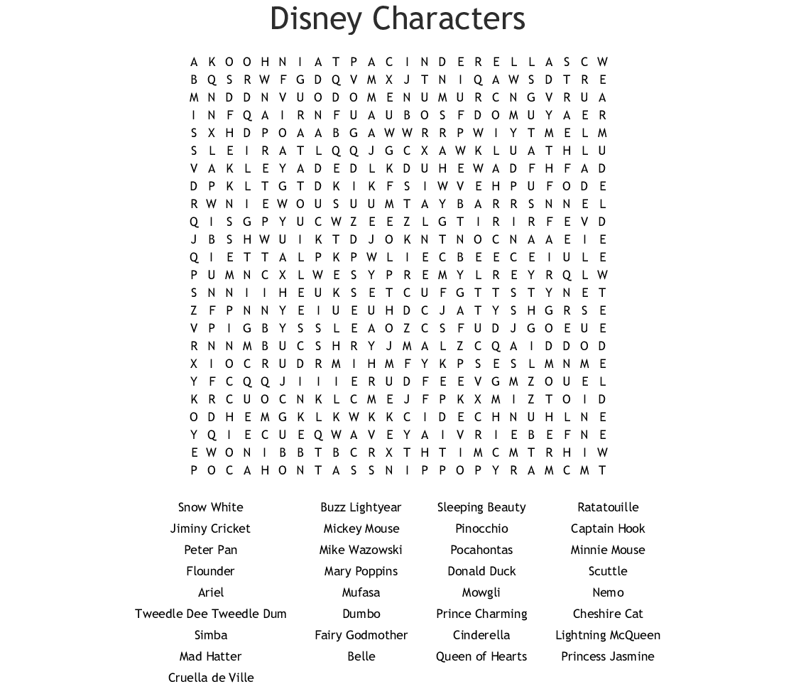 Disney Word Search Puzzles Aladdin Char 2