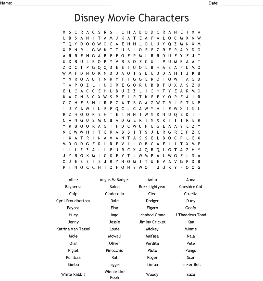 Disney Word Search Puzzles Aladdin Movie Char