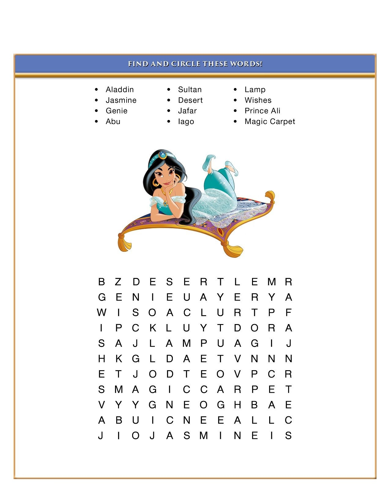 Disney Word Search Puzzles Aladdin