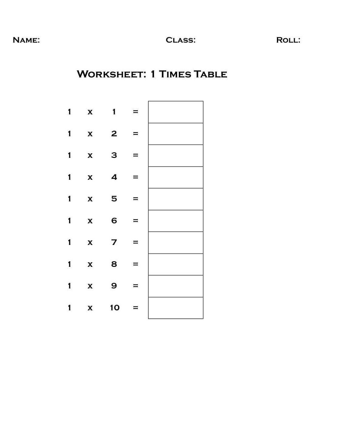 1 Times Tables Worksheet for Kids