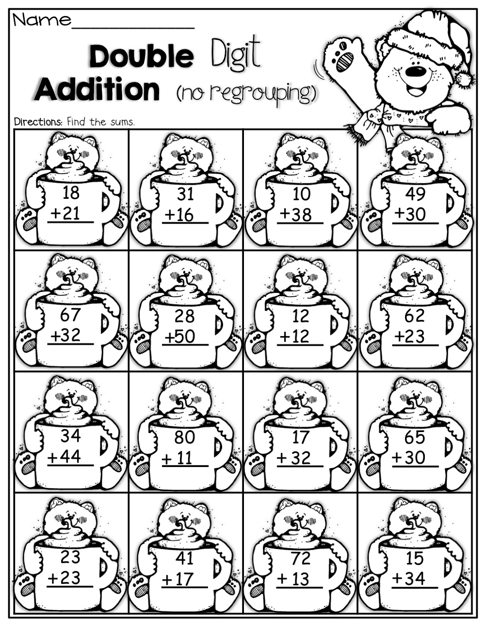 Addition Two Digit Math Worksheets