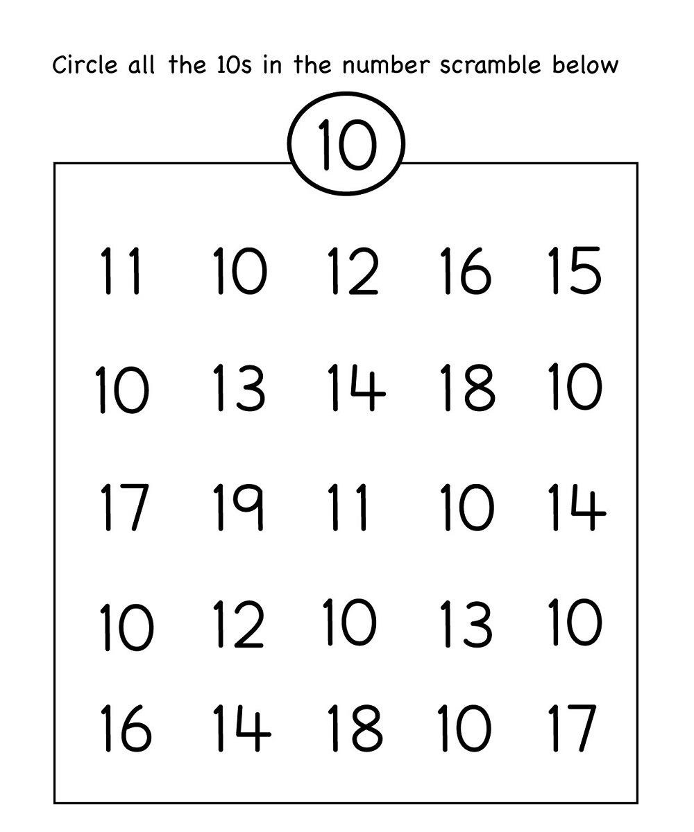 Circle Number 10 Worksheet