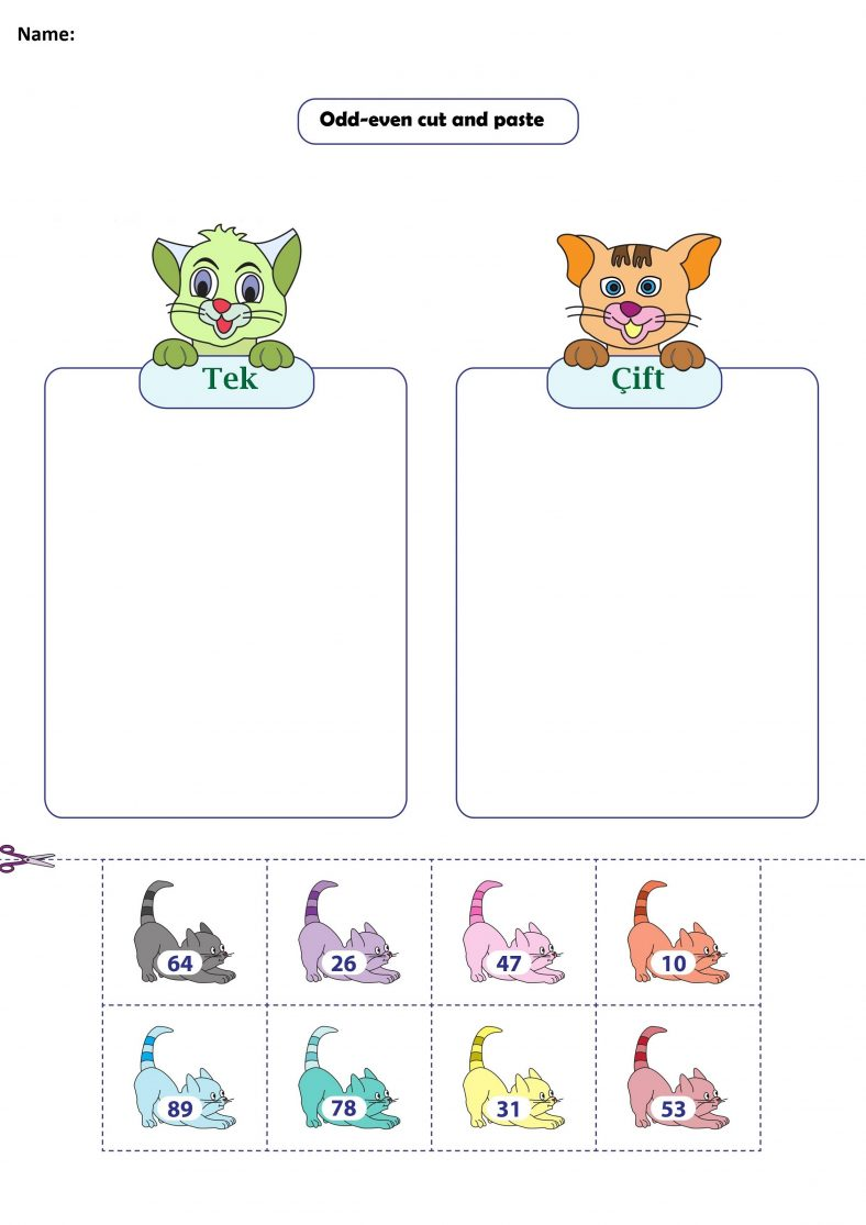 Cut and Paste Even And Odd Number Worksheets