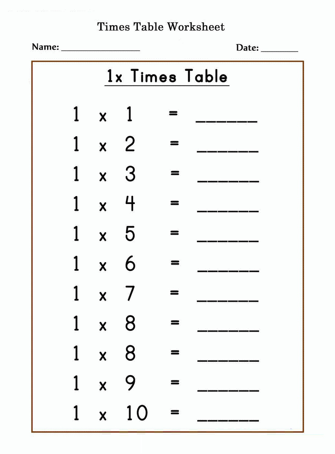 Easy 1 Times Tables Worksheet