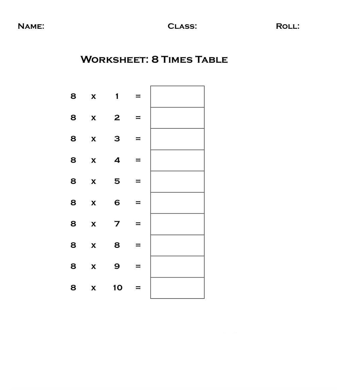 Easy 8 Times Table Worksheet