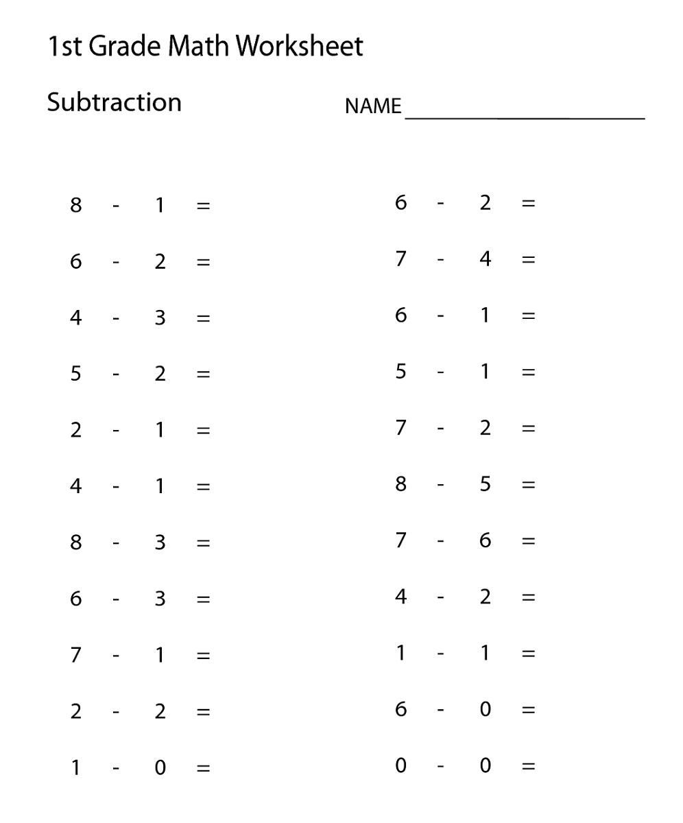 Math Worksheets for 1st Grade