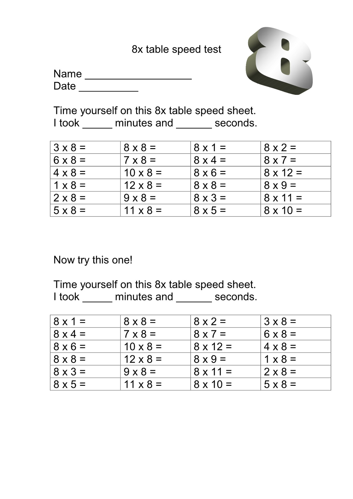 Multiplication 8 Times Table Worksheet