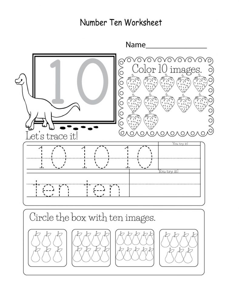 Printable Number 10 Worksheet