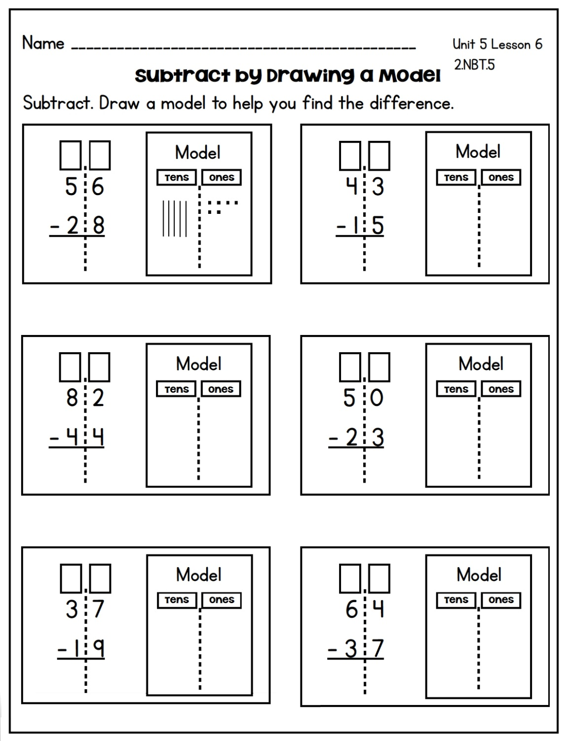 Subtraction Two Digit Math Worksheets
