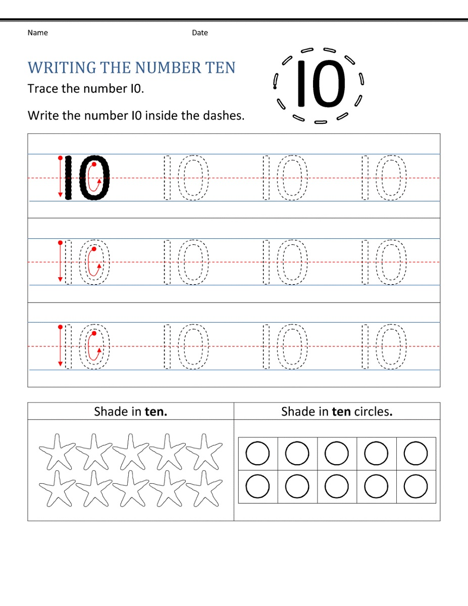 Writing Number 10 Worksheet