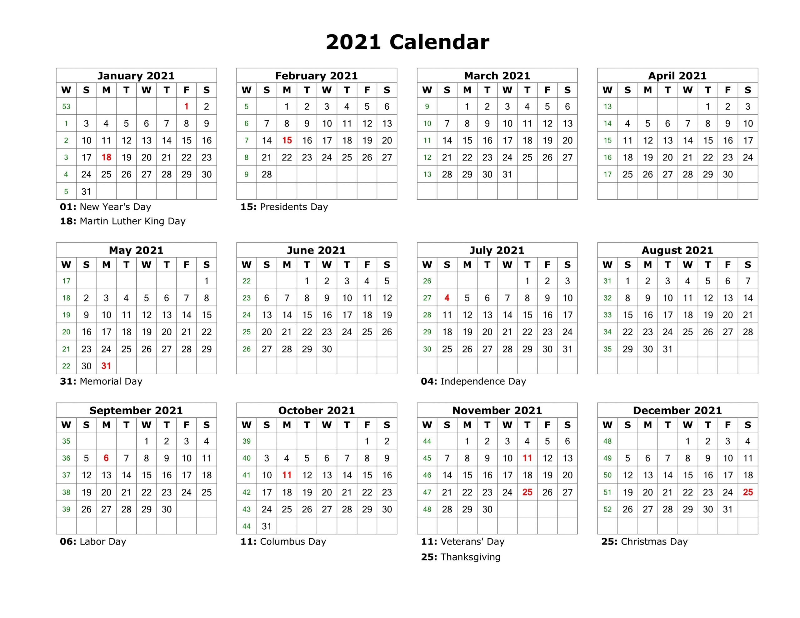 2021 Yearly Calendar With Holidays Template