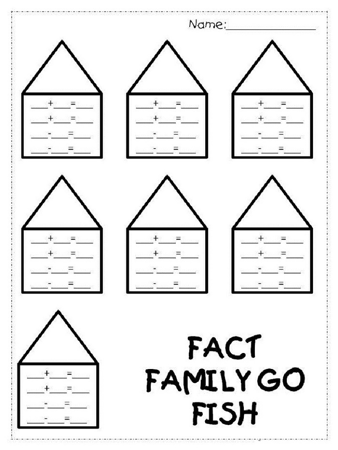 Addition and Subtraction Blank Fact Family Worksheets