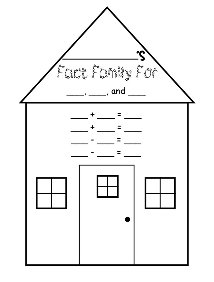 Blank Fact Family Worksheets Triangle
