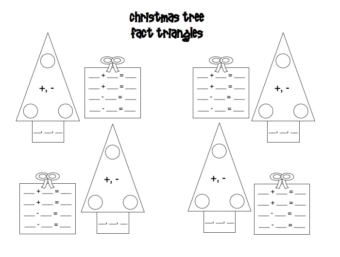 Christmas Tree Blank Fact Family Worksheets
