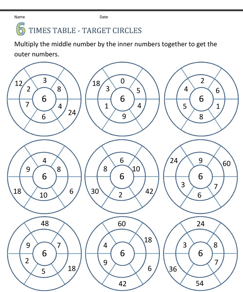 Circles 6 Times Tables Worksheets