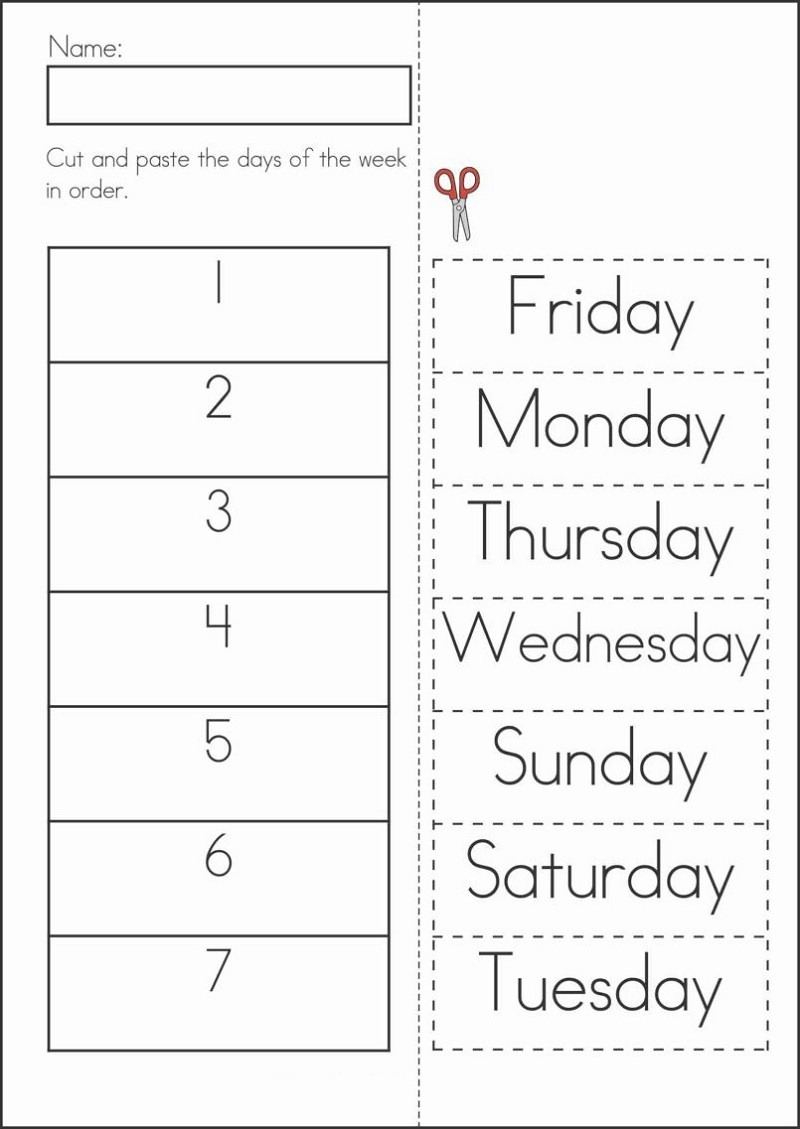 Days of The Week Worksheets For Three Year Olds