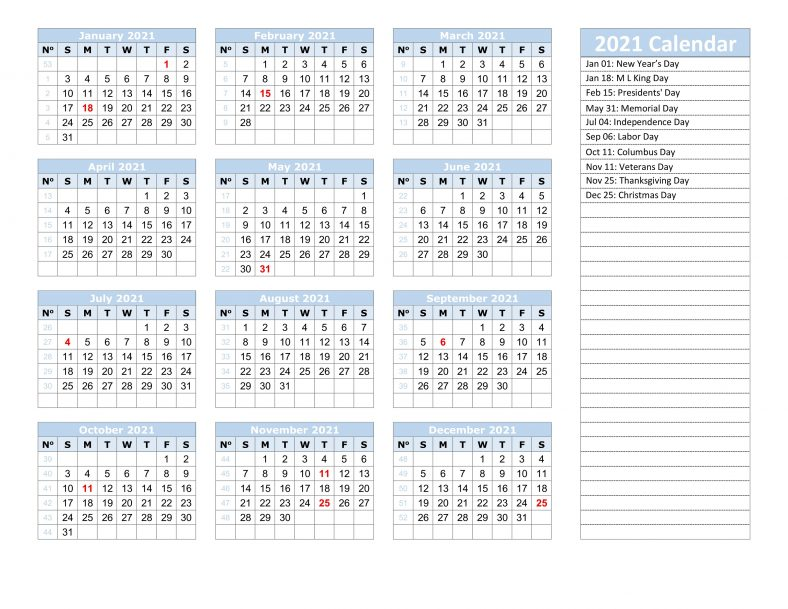 Download 2021 Yearly Calendar With Holidays
