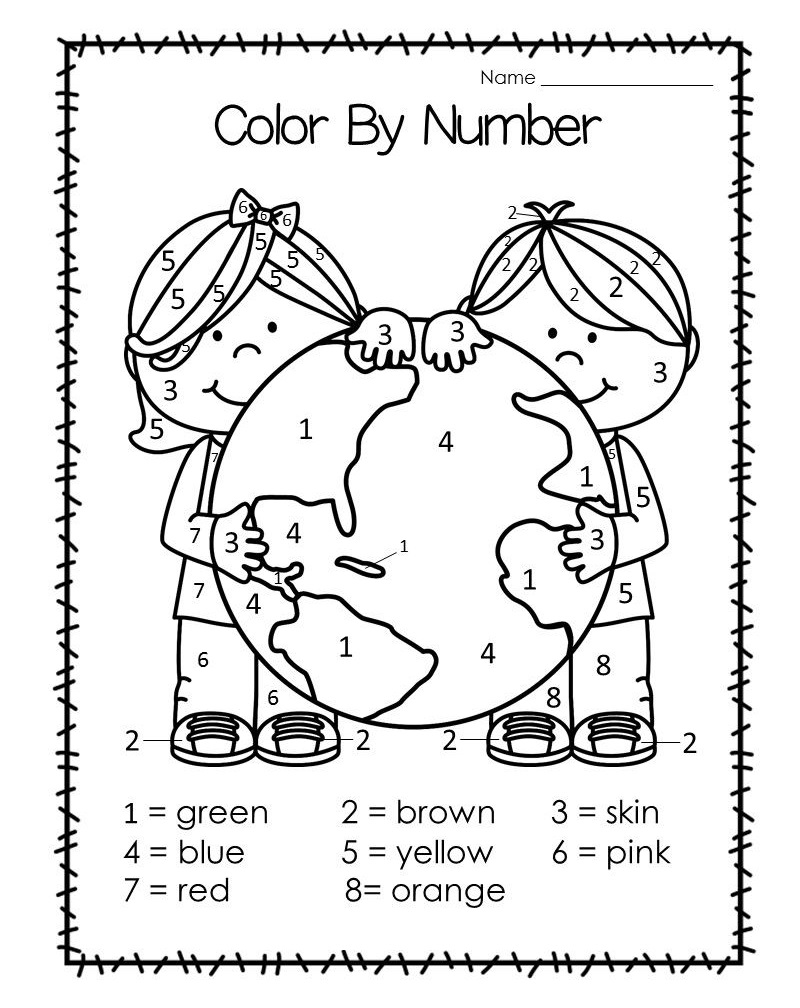 Earth Day Color by Number Worksheets