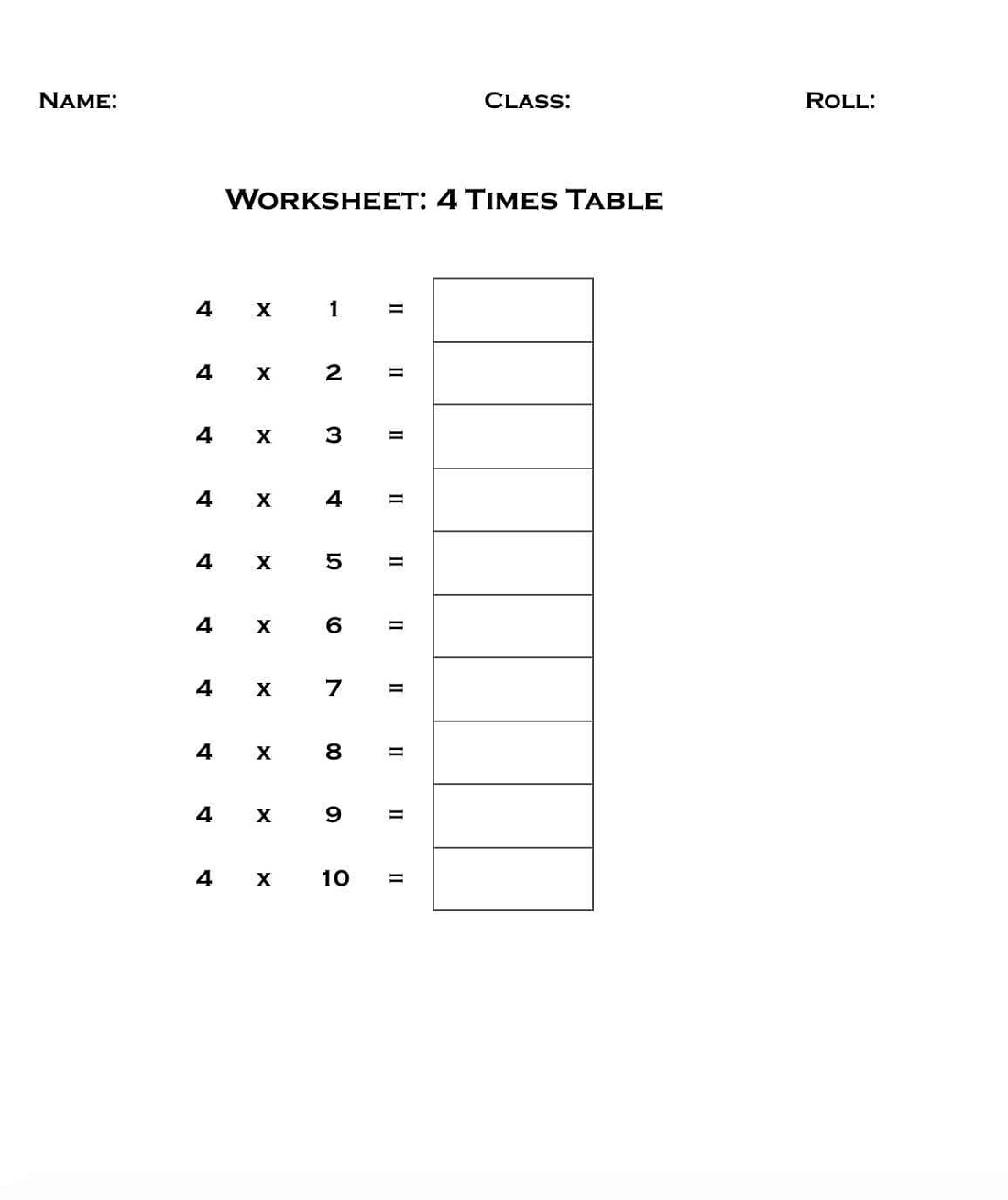 Easy 4 Times Table Worksheets