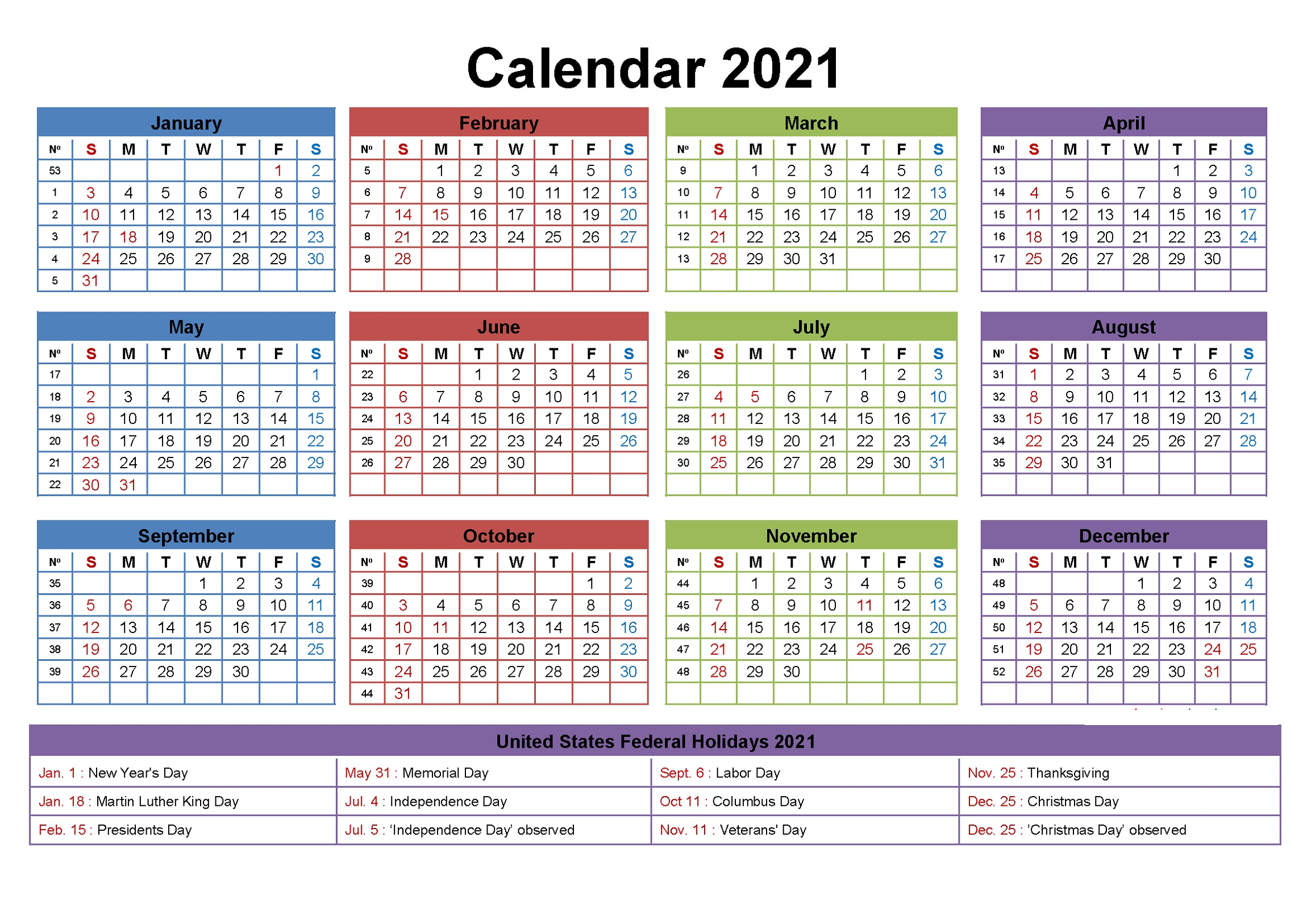 Editable 2021 Yearly Calendar With Holidays