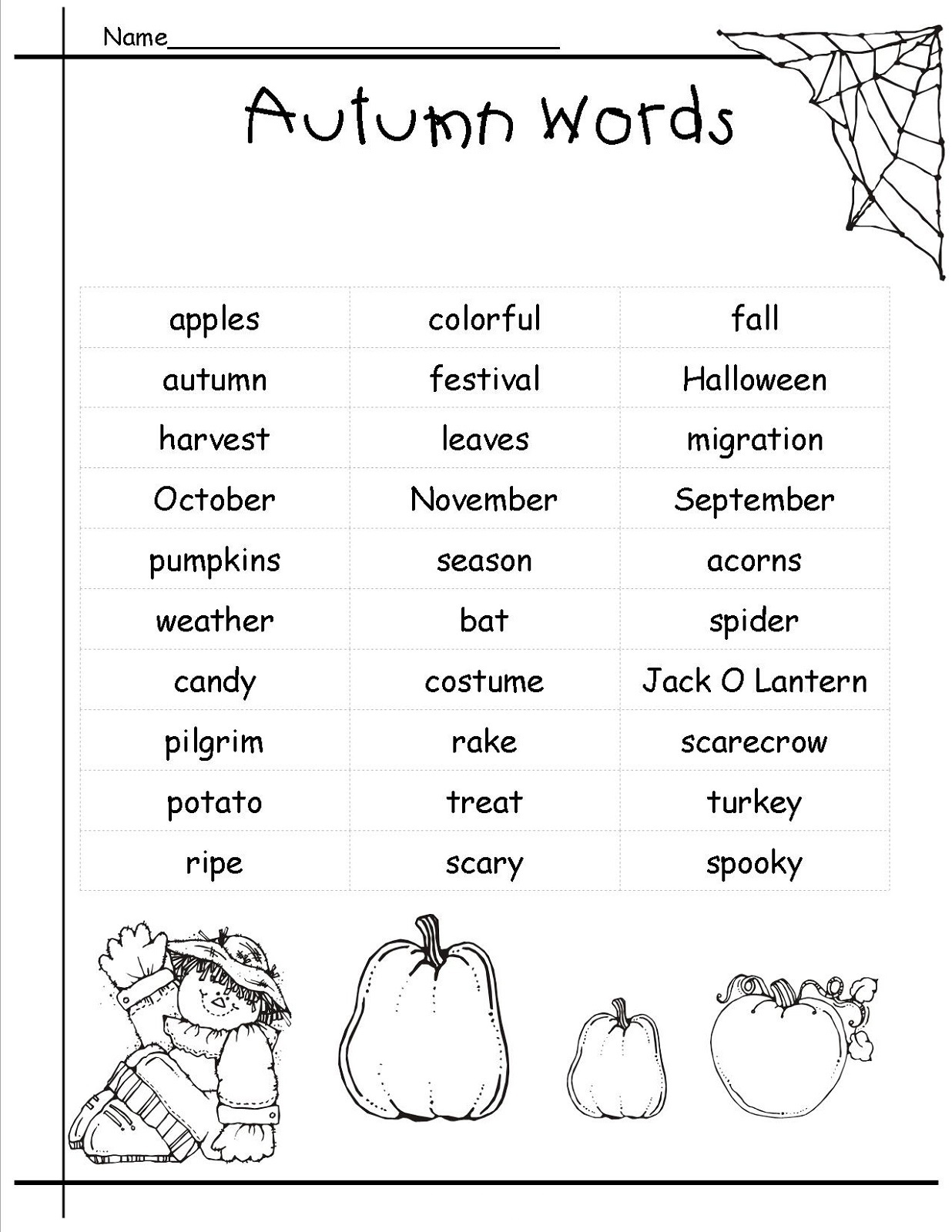 Pictionary Words For Kids Autumn Word