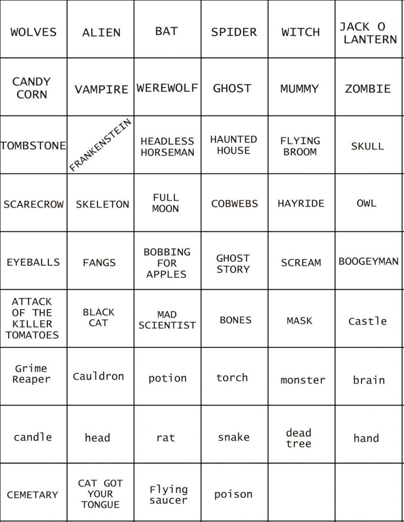 Pictionary Words For Kids Hallowen