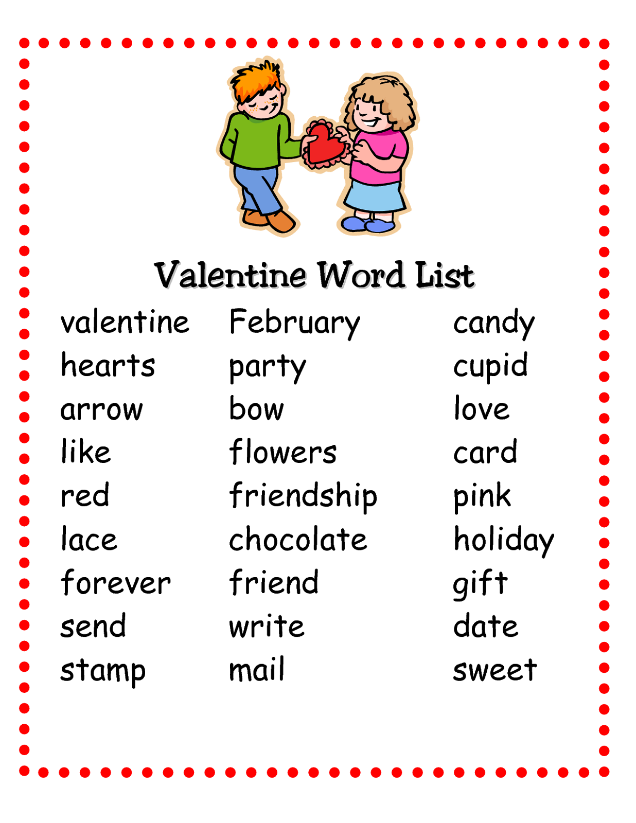 Pictionary Words For Kids Valentine Word
