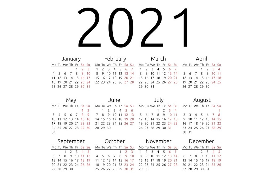 Simple 2021 Yearly Calendar With Holidays