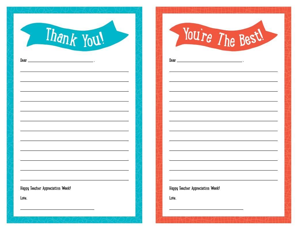 Teacher Appreciation Thank You Note Templates