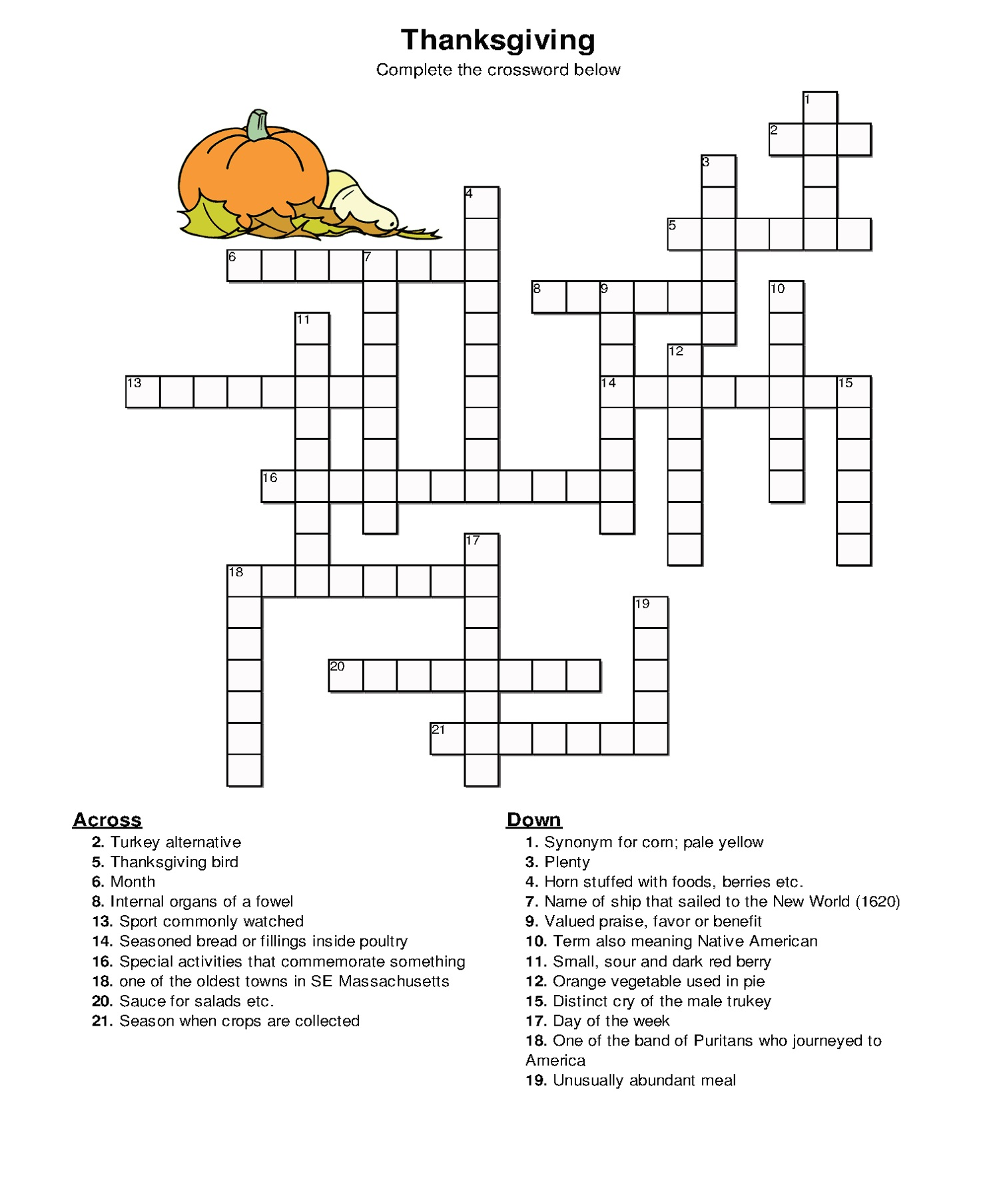 Thanksgiving Easy Crossword Puzzles For Kids