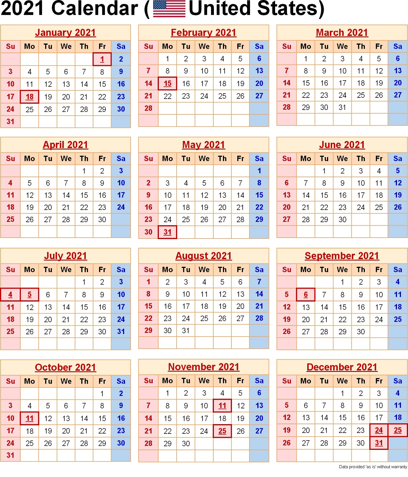 US Government 2021 Yearly Calendar With Holidays