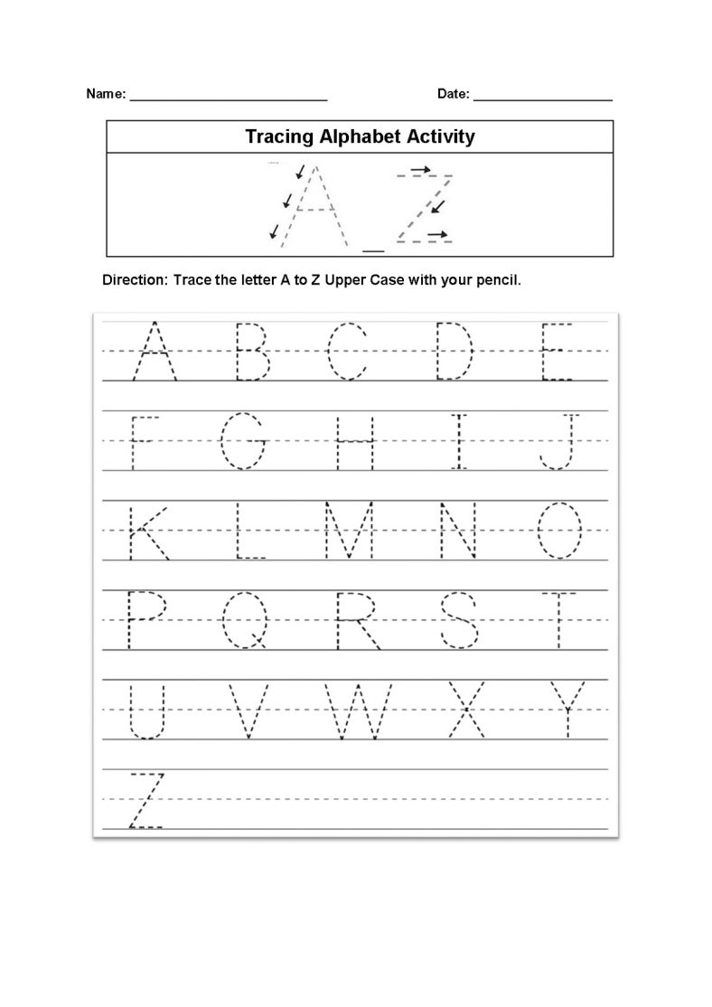 Alphabet Tracing Printables Worksheet