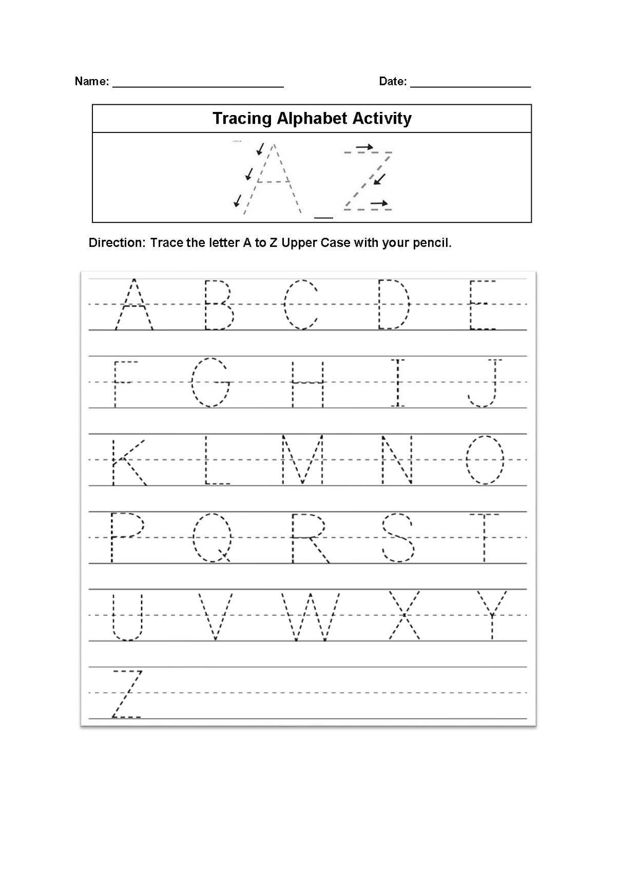 Alphabet Tracing Printables Worksheet