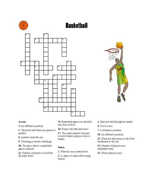 Basketball Crossword Puzzle Activity
