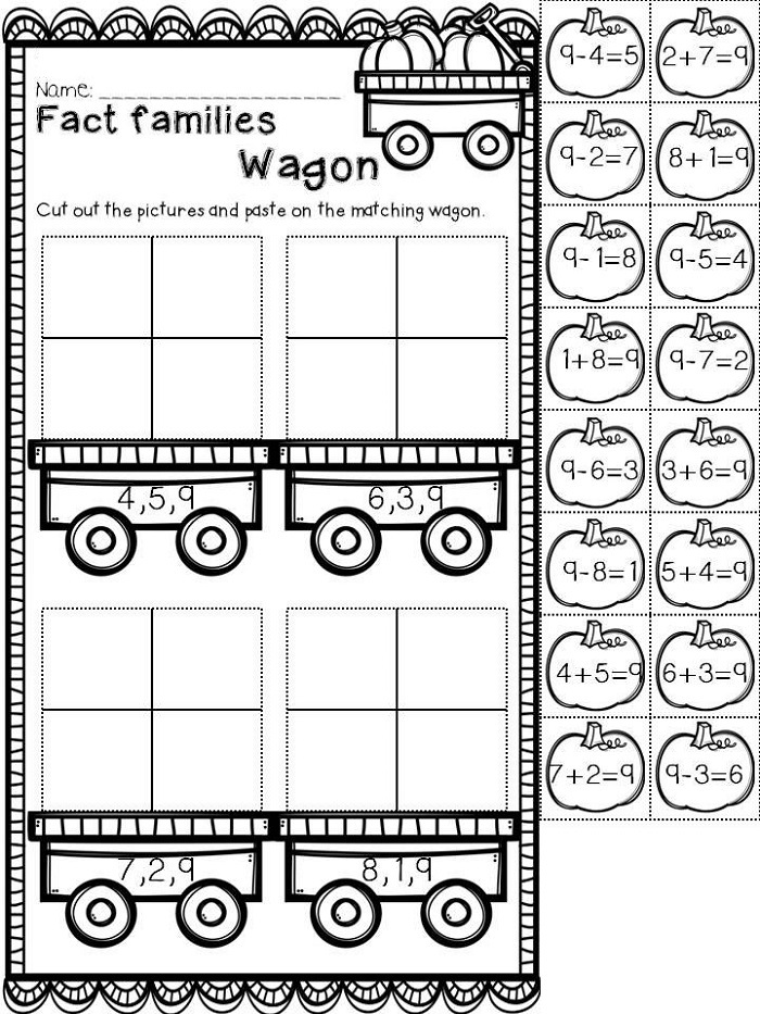 Fall Fact Family Worksheets For First Grade