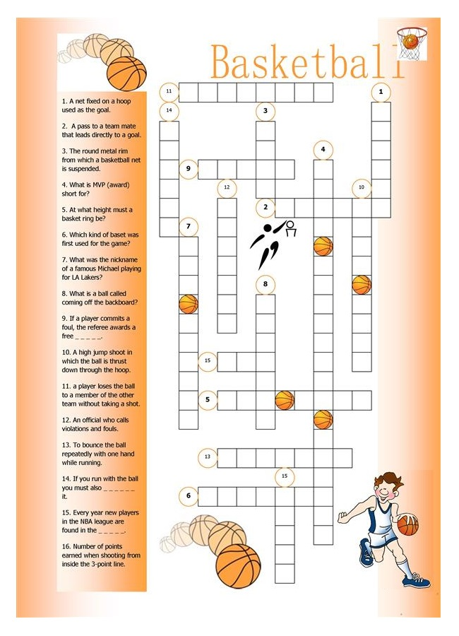 Free Basketball Crossword Puzzle
