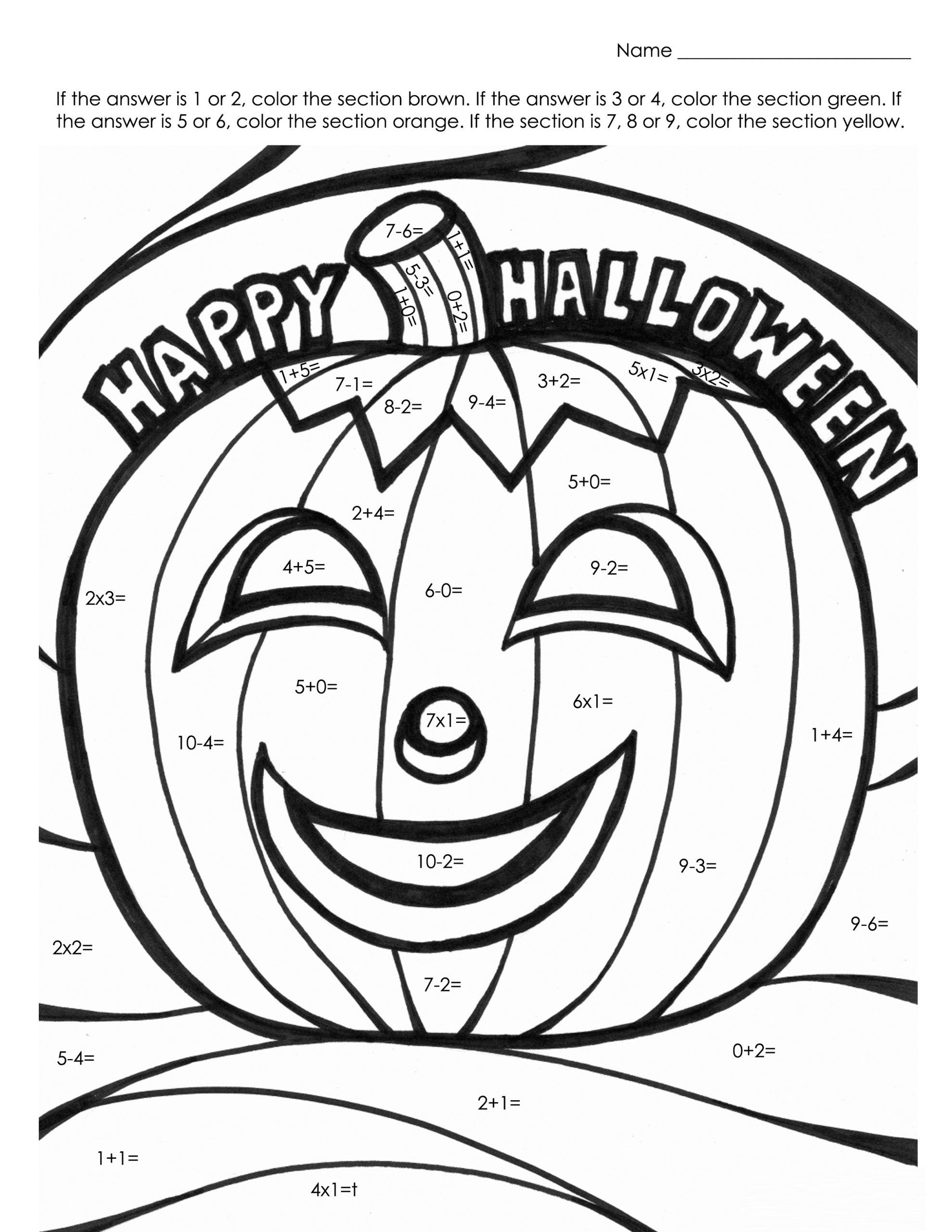 Halloween Hidden Picture Math Worksheets