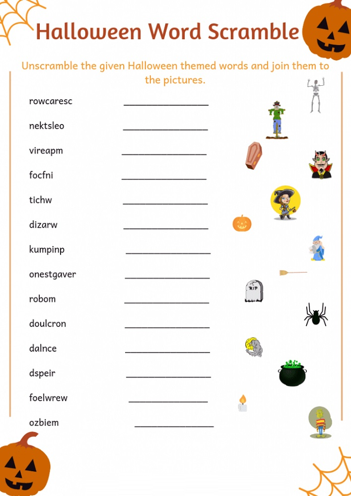 Halloween Word Scramble Worksheets